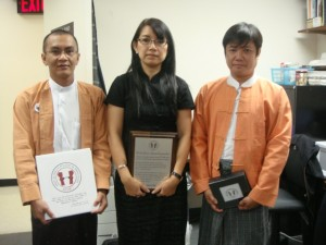 Kyaw Zaw Lwin (left), Khin Ohmar (middle) from The Forum for Democracy in Burma and Tate Naing, Secretary of the Assistance Association for Political Prisoners (Burma).