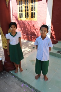 Phoo Myint Mo and Chit Loon Oo, two students at Thiri Mingalar Monastic School in Pyi Thar Township near Yangon.
