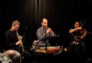 From the left: Ole Mathisen, Amir ElSaffar,  and Dena El Saffar of the group Salaam at Maqam Fest in January.