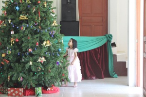 Christmas tree at Wunpawng Church in Chiang Mai, Thailand.