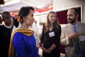 Aung San Suu Kyi at a dinner we had with her on our final night in the country. Photo: Natalie Keyssar